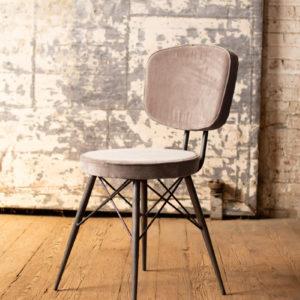 Velvet Dining Chair With Iron Frame - Cobblestone