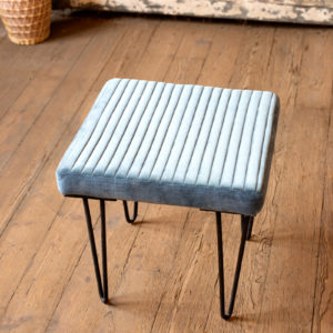 Velvet Stool With Channel Stitch Top & Iron Legs - Steel Blue