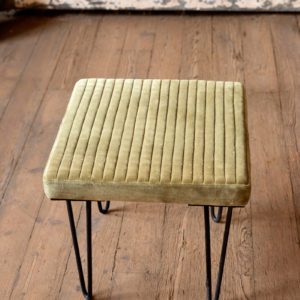 Velvet Stool With Channel Stitch Top & Iron Legs - Avocado