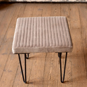 Velvet Stool With Channel Stitch Top & Iron Legs - Cobblestone