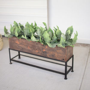 Recycled Wooden Planter With Iron Base