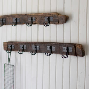 Recycled Wood Coat Rack With Five Wire Hooks - (Includes 2)