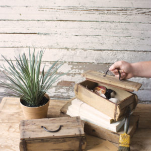 Repurposed Wooden Brick Mold Box With Lid - (Includes 2)