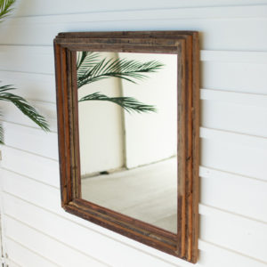 Recycled Wood Square Multi Level Mirror