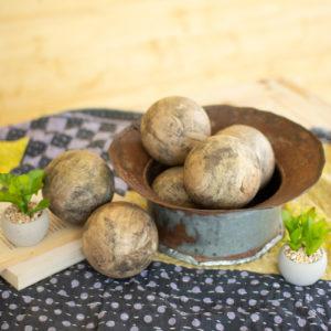Set Of Six Hand Carved Mango Wood Spheres
