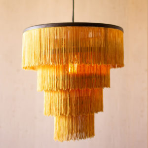 Gold Fringe Tiered Pendant Light