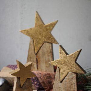 Set Of Three Wooden Star On Base