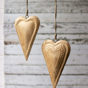 Set Of Two Antique Brass Metal Hearts