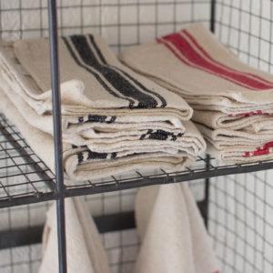 Set Of 6 Cotton Kitchen Towels - Black Stripe