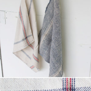 Set Of Six Cotton Kitchen Towels-Red Blue & Gold