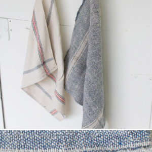 Set Of 6 Cotton Utility Towels - Navy And Natural