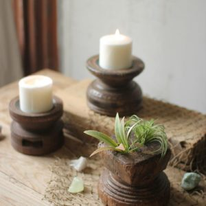 Set Of Three Hand Carved Wooden Seed Spreader Candle Holders