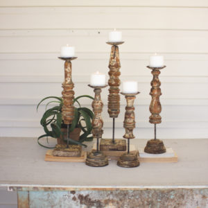 Set Of Five Repurposed Wooden Finial Candle Stands
