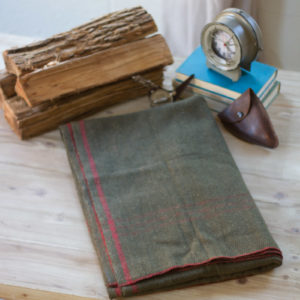Cotton Blend Utility Blanket-Green With Red Stripe