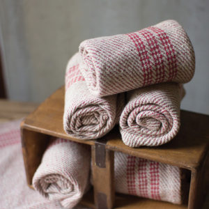 Set Of Six Red Cotton Kitchen Towels