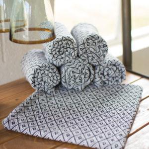Set Of 6 Cotton Napkins - Black And White Diamonds