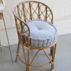 Round Box Cushion - Blue Ticking