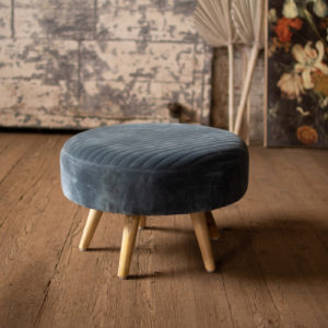 Velvet Ottoman With Wooden Legs - Steel Blue