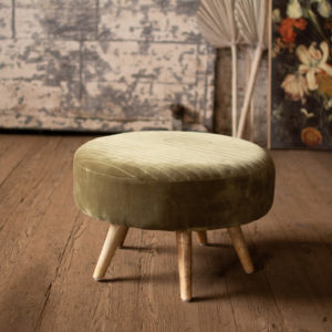 Velvet Ottoman With Wooden Legs - Avocado