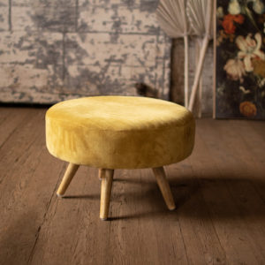 Velvet Ottoman With Wooden Legs - Honey
