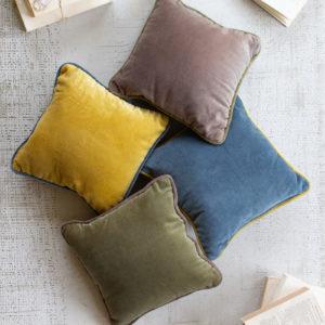 Square Velvet Pillow - Cobblestone