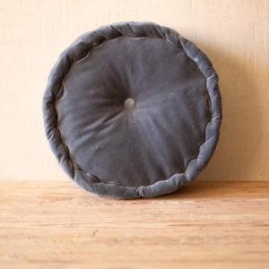 Round Velvet Floor Cushion - Steel Blue