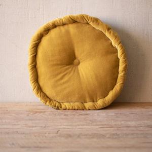 Round Velvet Floor Cushion - Honey