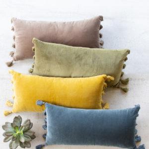 Velvet Lumbar Pillow - Avocado