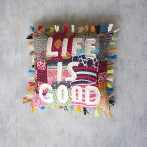 Life Is Good Kantha Pillow