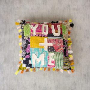 You + Me Kantha Pillow