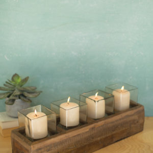 Recycled Wooden Candle Holder With Four Hurricanes