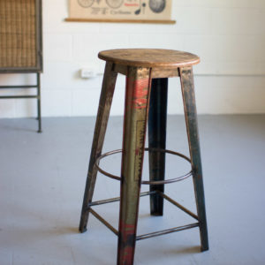 Recycled Metal Bar Stool With Wooden Top