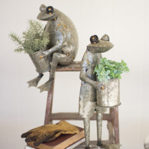 Set Of Two Galvanized Frog Planters