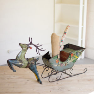 Recycled Iron Deer With Cart