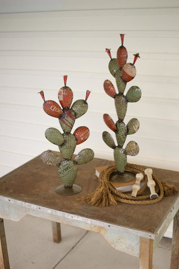 Set Of Two Recycled Iron Cactus