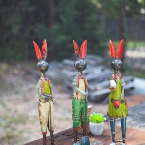 Set Of Three Recycled Iron Rabbits