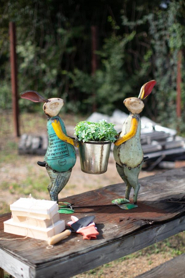 Recycled Iron Rabbits With Planter