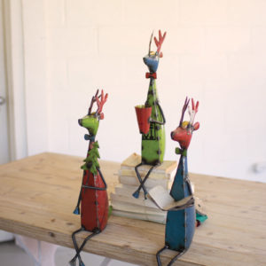 Set Of Three Recycled Metal Deer Shelf Sitters
