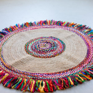 Recycled Braided Kantha And Sea Grass Rug - Large
