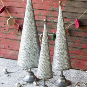 Set Of Three Zinc Topiaries With Beaded Brass Detail