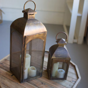 Set Of Two Bronze Lanterns