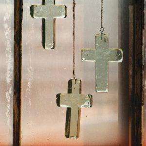 Glass Cross Sun Catcher Ornament