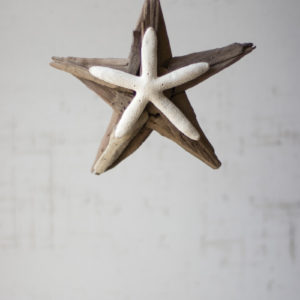 Driftwood Star Ornament With Starfish Detail - (Includes 4)