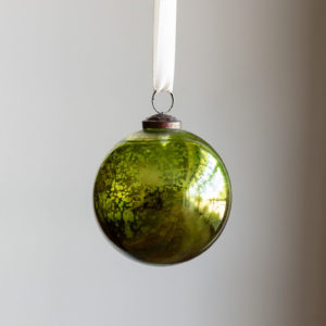 Antique Mercury Glass Ball Ornament, Citrus Green, Small Min 6