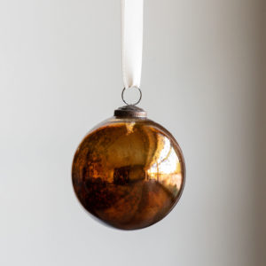 Antique Mercury  Glass Ball Ornament,Topaz, Small Min 6