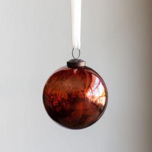 Antique Mercury Glass Ball Ornament, Plum, Small Min 6