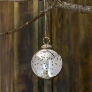 Snowflake Etched Mercury Glass Ball Ornament, Small Min 6