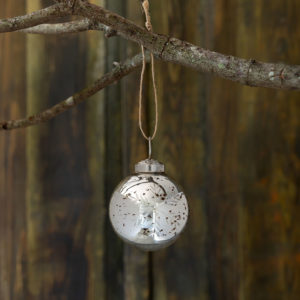 Snowflake Etched Mercury Glass Ball Ornament, Mini Min 12