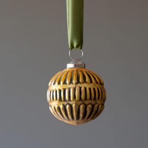 Antique Gold Line Pattern Mercury Glass Ornament, Medium Min 4