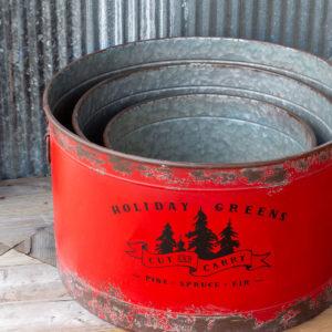 Antique Red Metal Tree Pots